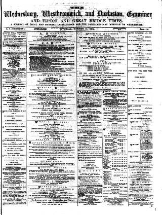 cover page of Midland Examiner and Times published on October 17, 1874