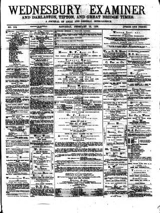 cover page of Midland Examiner and Times published on February 19, 1876