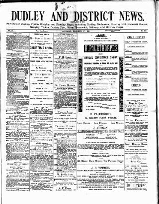 cover page of Dudley and District News published on December 17, 1881
