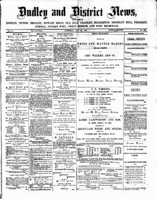 cover page of Dudley and District News published on May 27, 1882