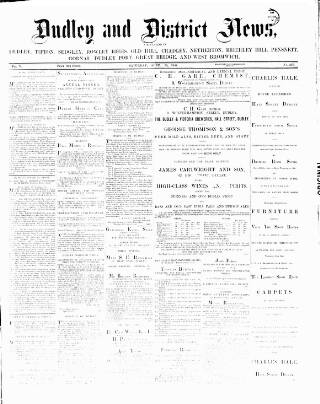 cover page of Dudley and District News published on April 19, 1884