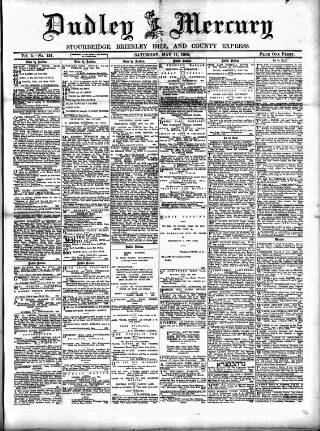 cover page of Dudley Mercury, Stourbridge, Brierley Hill, and County Express published on May 11, 1889
