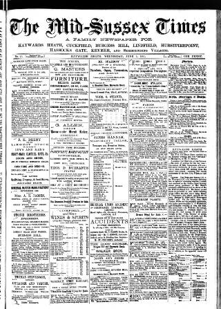 cover page of Mid Sussex Times published on June 1, 1881