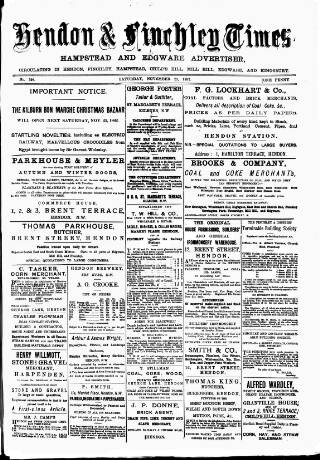 cover page of Hendon & Finchley Times published on November 25, 1882