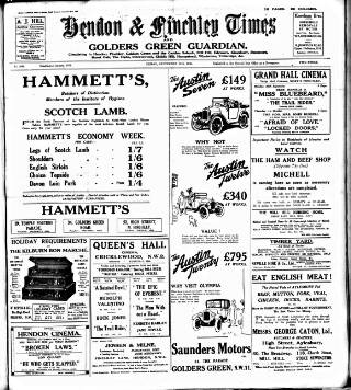 cover page of Hendon & Finchley Times published on September 25, 1925