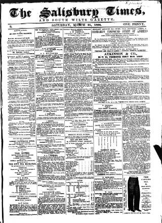 cover page of The Salisbury Times published on March 21, 1868