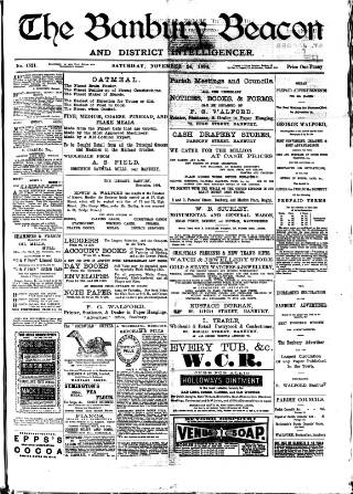 cover page of Banbury Beacon published on November 24, 1894