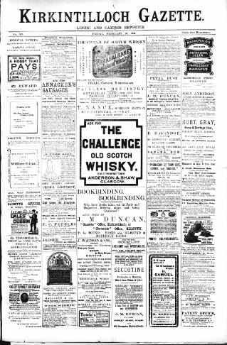 cover page of Kirkintilloch Gazette published on February 19, 1904