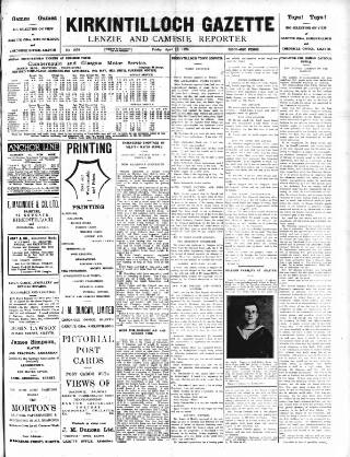 cover page of Kirkintilloch Gazette published on April 18, 1924