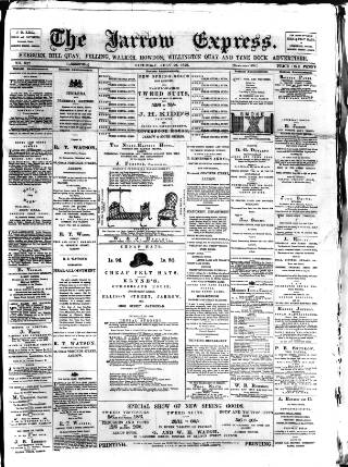 cover page of Jarrow Express published on July 22, 1876