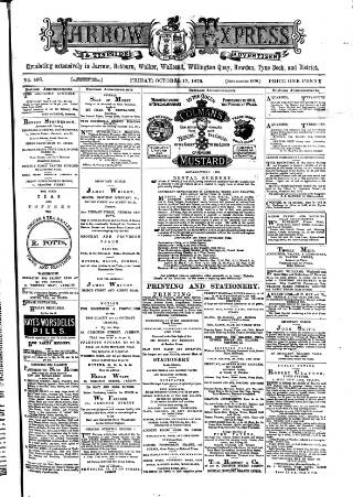 cover page of Jarrow Express published on October 17, 1879