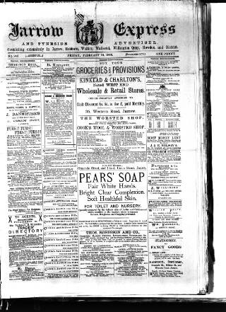 cover page of Jarrow Express published on February 19, 1886