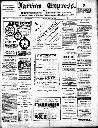 cover page of Jarrow Express published on March 19, 1909
