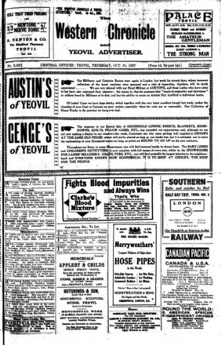 cover page of Western Chronicle published on October 20, 1927