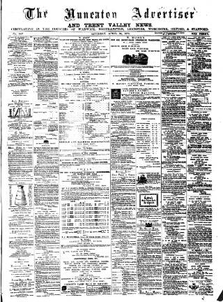 cover page of Nuneaton Advertiser published on April 24, 1875