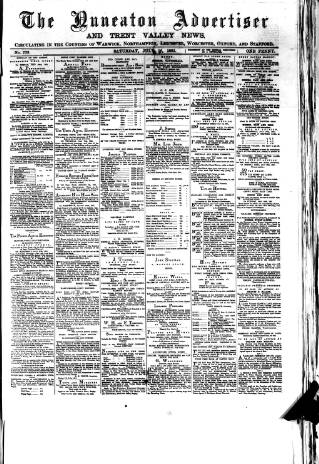 cover page of Nuneaton Advertiser published on July 16, 1881