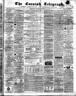 cover page of The Cornish Telegraph published on March 23, 1859