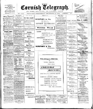cover page of The Cornish Telegraph published on December 18, 1901