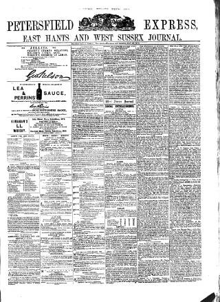 cover page of Petersfield Express published on May 20, 1879