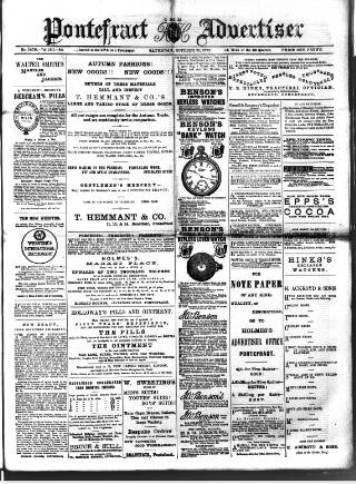 cover page of Pontefract Advertiser published on October 31, 1891