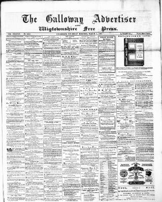 cover page of Galloway Advertiser and Wigtownshire Free Press. published on March 3, 1881