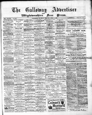 cover page of Galloway Advertiser and Wigtownshire Free Press. published on April 7, 1881