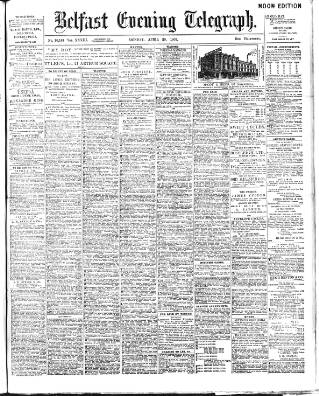 cover page of Belfast Telegraph published on April 20, 1903