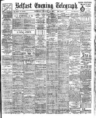 cover page of Belfast Telegraph published on February 15, 1905