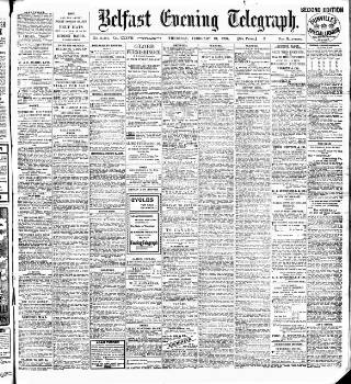 cover page of Belfast Telegraph published on February 21, 1907