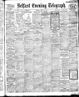 cover page of Belfast Telegraph published on June 20, 1910