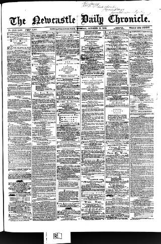 cover page of Newcastle Daily Chronicle published on October 17, 1865