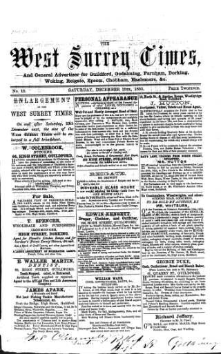 cover page of West Surrey Times published on December 15, 1855
