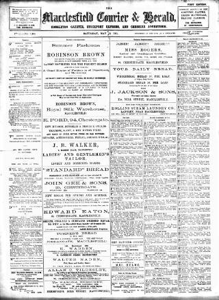 cover page of Macclesfield Courier and Herald, Congleton Gazette, Stockport Express, and Cheshire General Advertiser. published on May 13, 1911