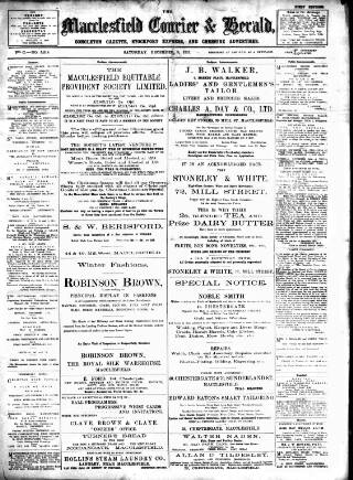 cover page of Macclesfield Courier and Herald, Congleton Gazette, Stockport Express, and Cheshire General Advertiser. published on December 9, 1911