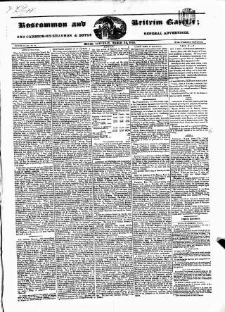 cover page of Roscommon & Leitrim Gazette published on March 24, 1855