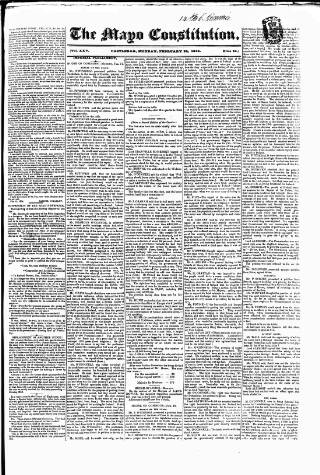 cover page of Mayo Constitution published on February 24, 1834