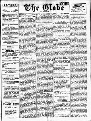cover page of Globe published on July 18, 1910