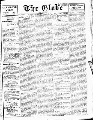 cover page of Globe published on February 21, 1911