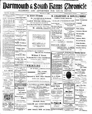 cover page of Dartmouth & South Hams chronicle published on December 18, 1908