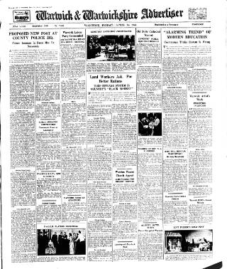 cover page of Warwick and Warwickshire Advertiser published on April 18, 1947