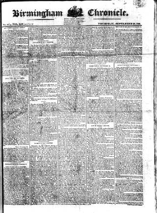 cover page of Birmingham Chronicle published on September 23, 1819