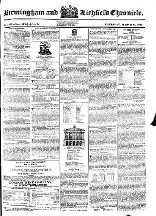cover page of Birmingham Chronicle published on March 21, 1822