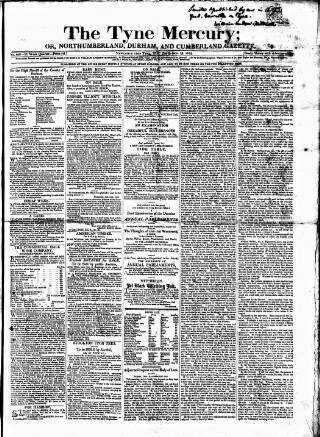 cover page of Tyne Mercury; Northumberland and Durham and Cumberland Gazette published on October 19, 1819