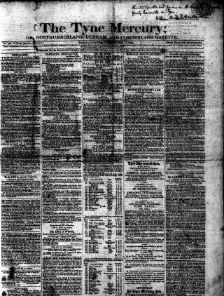 cover page of Tyne Mercury; Northumberland and Durham and Cumberland Gazette published on December 14, 1819