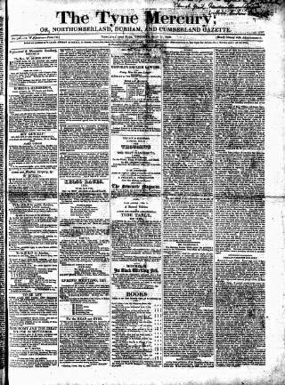 cover page of Tyne Mercury; Northumberland and Durham and Cumberland Gazette published on July 11, 1820