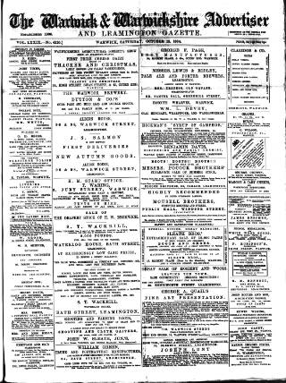 cover page of Warwick and Warwickshire Advertiser published on October 18, 1884