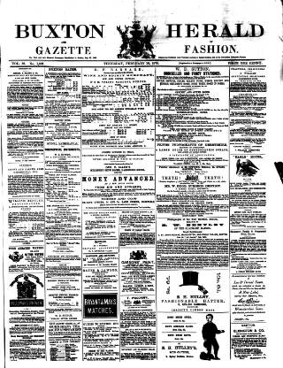 cover page of Buxton Herald published on February 18, 1875