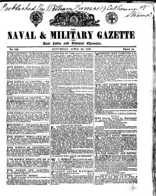 cover page of Naval & Military Gazette and Weekly Chronicle of the United Service published on April 23, 1836