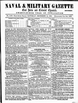 cover page of Naval & Military Gazette and Weekly Chronicle of the United Service published on December 14, 1861
