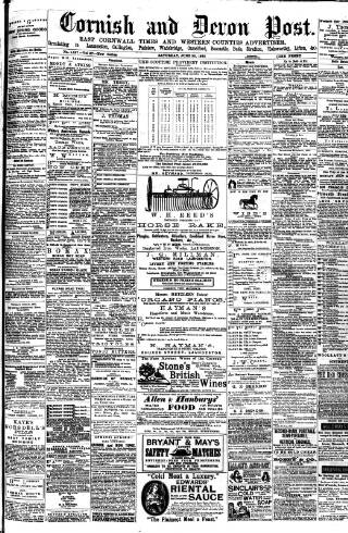 cover page of Cornish & Devon Post published on June 20, 1885